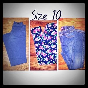 Lot of 3 Size 10 in girls Pants/Jeans